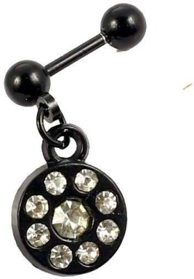 Little Goa Stone in Circle Black Metal Body Piercing-2.5 mm Metal Plug Earring
