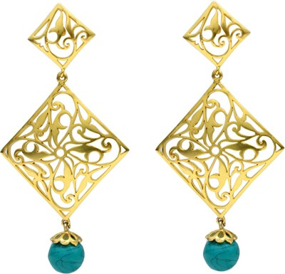 Eighth Fold Turquoise Brass Turquoise Brass Chandelier Earring