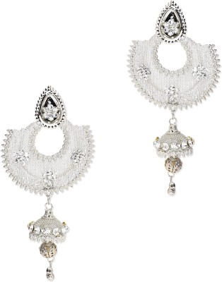 Trinketbag Silver Drop ethnic Alloy, Glass Chandbali Earring