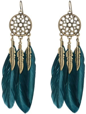 Young & Forever Teal Vintage Feather Boho Feather Earrings Alloy Dangle Earring