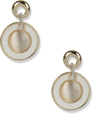 Aimez Pretty Little Pieces - Pearl White Round Metal Drop Earring