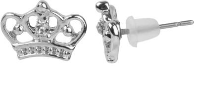 NeedyBee White Crystal Studded Crown Shape For Baby Girls Metal Stud Earring