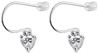 Voylla Classic Plain Cubic Zirconia Sterling Silver Dangle Earring
