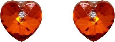 Amroha Crafts Tangerine Heart Alloy Stud Earring