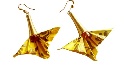 Origami Noshi Yellow & Gold Paper Earrings Metal Earring Set