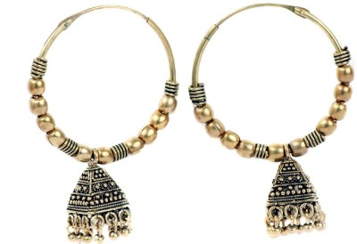 99HomeMart Traditional Work Pearl Brass Hoop Earring