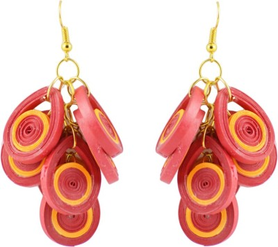 Trendmania Red and yellow paper quilled earrings Paper Dangle Earring
