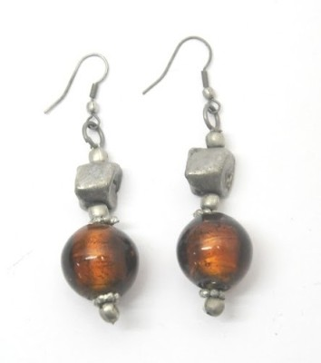 CFM Glass Bead Hanging Metal, Glass Drop Earring