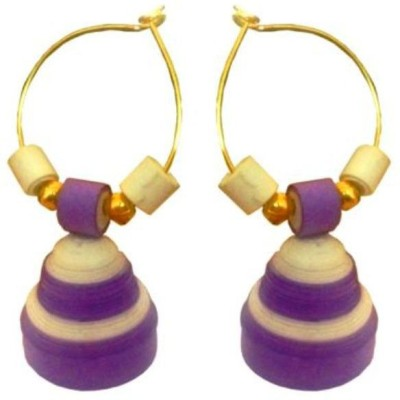 Vaishali's Quilling Jewellery White and Purple Combination Paper Jhumki Earring