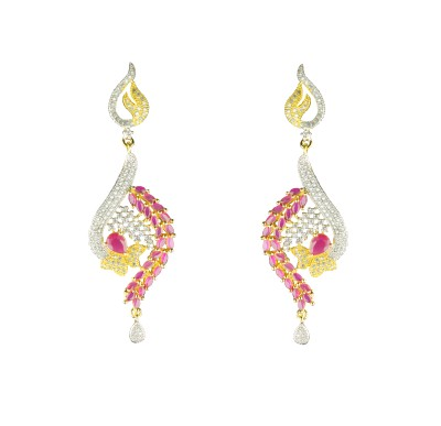 JDJ Imitation Jewelleris Open Heart Zircon Brass Drop Earring