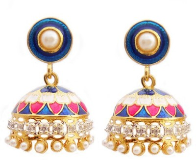 MK Jewellers DESIGNER TOKRI EARING WITH AD AND MEENA Brass Dangle Earring