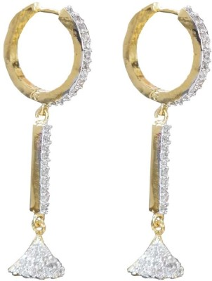 Sheetal Jewellery Golden Cubic Zirconia Brass, Alloy Hoop Earring