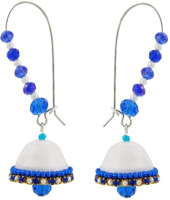Halowishes Royal Blue and White Hancrafted Kidney Hook Jhumka Paper Hoop Earring