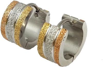 Ammvi Glitter Sands Tri-Tone For Men Stainless Steel Huggie Earring