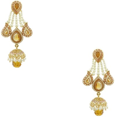Orniza Rajwadi Stylish Earrings in Champagne Color and Golden Polish Brass Jhumki Earring