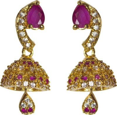 Jewelgrab Traditional Design Ruby Alloy Jhumki Earring