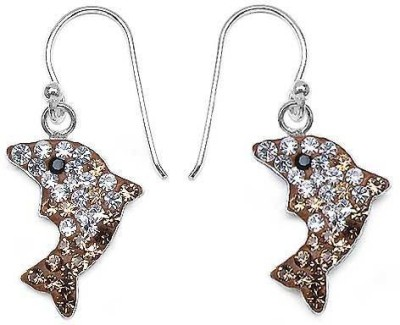 Johareez Fashion Floral Crystal Sterling Silver Dangle Earring
