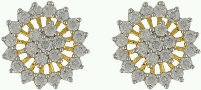 Aadhya Jewels Circular Shape Diamond Silver, Alloy Stud Earring