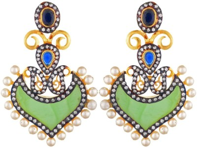 SB Fashions Green earring with small pearls Brass Drop Earring
