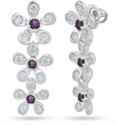 VelvetCase Flower Earrings with Tanzanite and White Topaz Topaz Silver Stud Earring