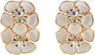 Aaishwarya White Duet Daisy Alloy Stud Earring