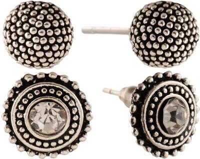 Anokhi Ada Rhinestone Studded Dot Circle and Dot Sphere Metal Stud Earring