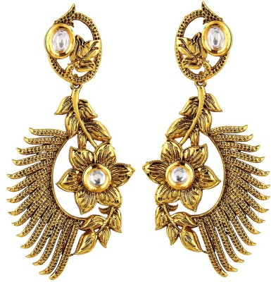 Aadhya Jewels Ethnic Designer Party Wear Anitique Gold Plated long Copper, Alloy Drop Earring