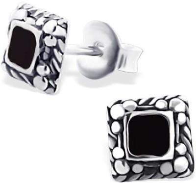 Maayin Square Plain - Black Sterling Silver Stud Earring