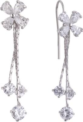 Siyora Bling White Cubic Zirconia Brass Dangle Earring