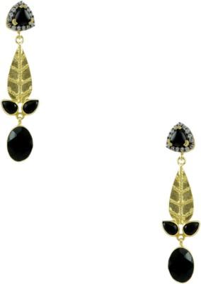 Orniza Boutique Earrings in Black Color and Black Gold Polish Brass Chandbali Earring
