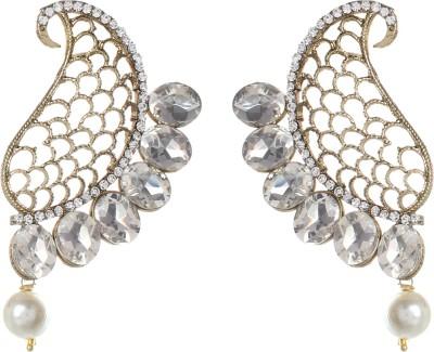 SAADGI White stone and Pearl Alloy Dangle Earring