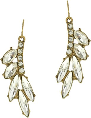 Fabula Gold & White Zircon American Diamond AD CZ Floral Jewellery for Women & Girls Metal Drop Earring