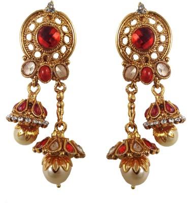 Hotpiper Royal Red Cubic Zirconia, Pearl Alloy Jhumki Earring