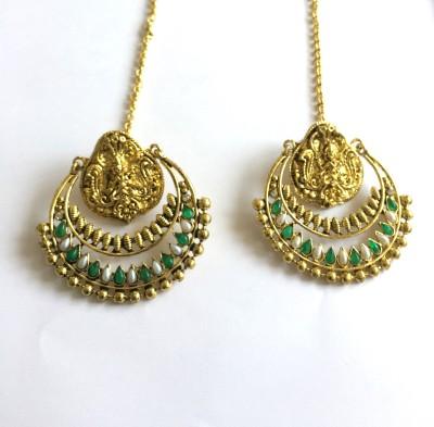 Arkina Diamonds Green Temple Brass Chandbali Earring
