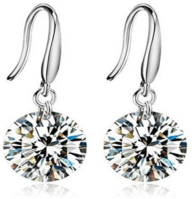 Caratcube Solitaire Dangle Earrings Crystal Alloy Drop Earring
