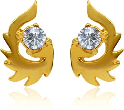 Mahi White Paisley Fire Cubic Zirconia Alloy, Brass Stud Earring