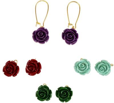 Women Trendz Four Pair Flower Golden Polish Plastic Dangle Earring