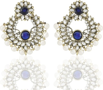 Castle Street Blue Alloy Chandbali Earring
