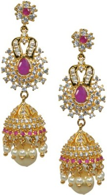 Kaumudi Golden Designer White, Pink Color Alloy Jhumki Earring