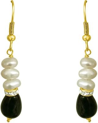 Surat Diamond Drop Green Stone Pearl Metal Dangle Earring
