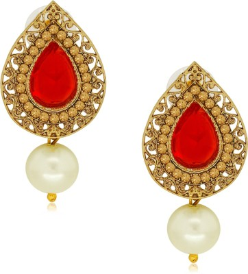 Spargz Ethnic Suspended with Pearl Drop Alloy Drop Earring