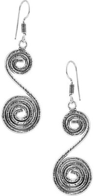 Factorywala PAIR OF SPIRAL SHAPE ON OXIDIZED Alloy Dangle Earring