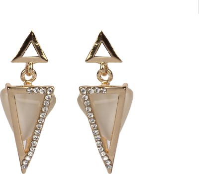 Divitha Allure Nude shade stone geometrical design pair from Divitha Allure. Alloy Drop Earring