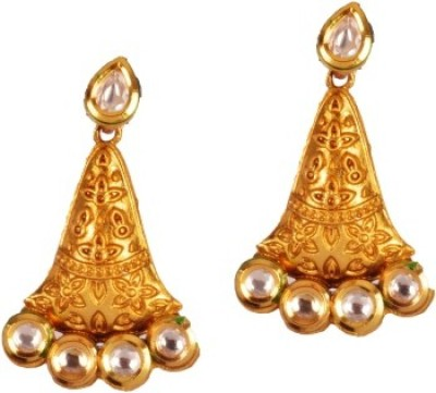 Ratnaraj India Antique AD Stone High Gold Quality Copper Chandelier Earring