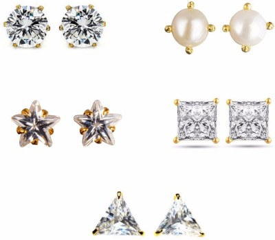 Archi Collection Solitaire Cubic Zirconia Alloy Earring Set at flipkart