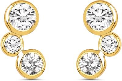 Johareez Gold Plated White Cubic Zirconia Gemstone Brass Earrings Cubic Zirconia Brass Stud Earring