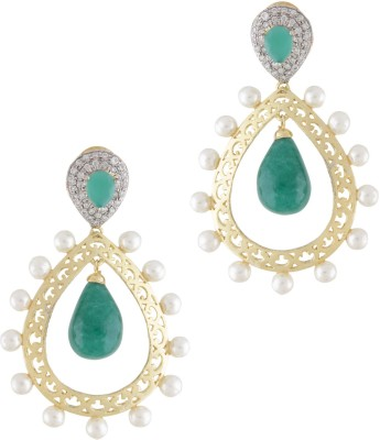 Styleos Golden & Green Pearly Pride Alloy Drop Earring