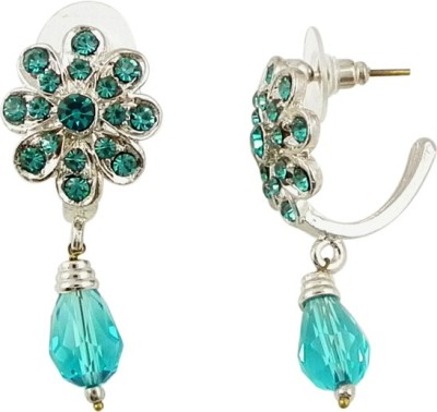 The Fine World sky blue and crescent shaped Zircon Brass Stud Earring