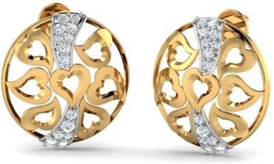 Aurobliss Heart Cluster Yellow Gold 18kt Cubic Zirconia Stud Earring