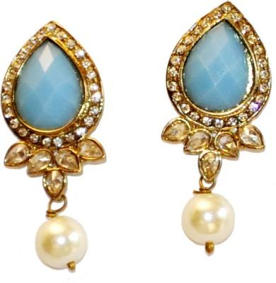 Women Trendz Golden Polish With Stone,Diamonds,Villindi And Pearl Hanging Brass Drop Earring